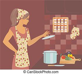 vrouw, in de keuken