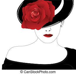 vrouw, in, een, hoedje, met, een, roos