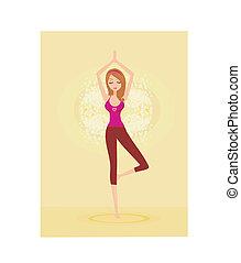 vrouw, in, een, traditionele , yoga houding