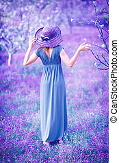 vrouw, in, fantasie, tuin