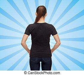 vrouw, in, leeg, witte t-shirt