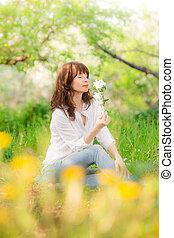 vrouw, in, lente
