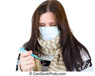 vrouw, in, masker, met, thermometer, vrijstaand, op wit, achtergrond