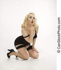 vrouw, in, retro, lingerie.