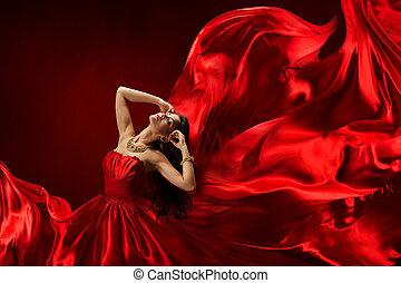 vrouw, in, rode jurk, blazen, met, vliegen, weefsel