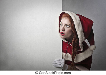 vrouw, in, santa kostuum