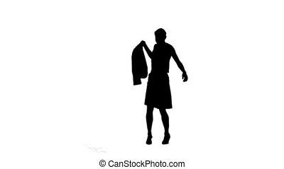 vrouw, in, slowmotion, vasthouden, haar, schoen