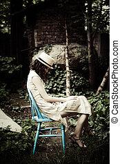 vrouw, in, tuin