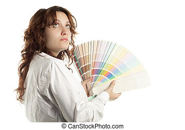 vrouw, in twijfel, met, kleur swatch