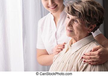 vrouw, in, verpleeghuis