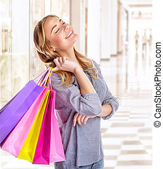vrouw, in, winkelcentrum