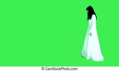 vrouw, in, witte , -, groene achtergrond