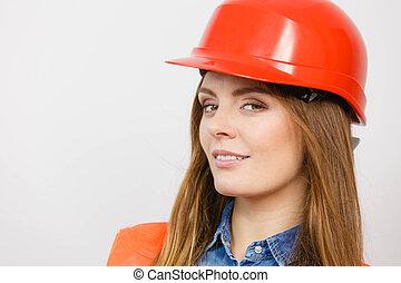 vrouw, ingenieur, bouwsector, aannemer, in, helmet.