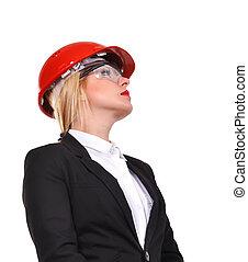 vrouw, ingenieur, in, helm