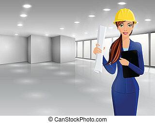vrouw, ingenieur, verticaal