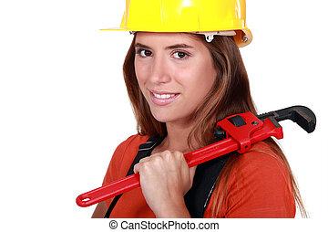 vrouw, installatiebedrijf