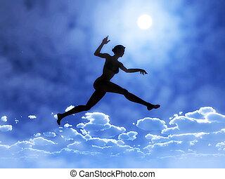 vrouw, is, springt, boven, wolken