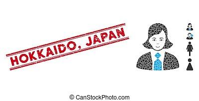 vrouw, japan, lijn, gekraste, hokkaido, collage, zeehondje,...