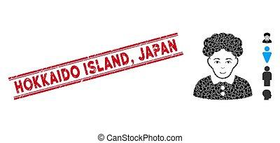 vrouw, japan, lijn, mozaïek, brunette, postzegel, hokkaido,...