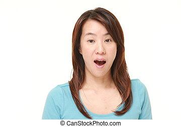 vrouw, japanner, verwonderd