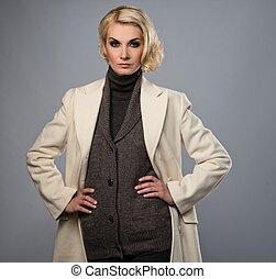 vrouw, jas, vrijstaand, grijze , elegant, witte