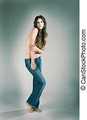 vrouw, jeans, topless, mode, sexy, model, sensueel