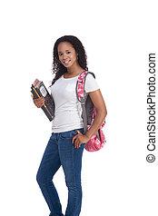 vrouw, jonge, amerikaan, college student, afrikaan