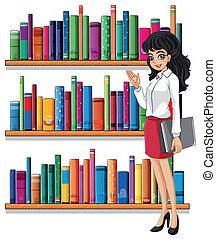 vrouw, jonge, bibliotheek
