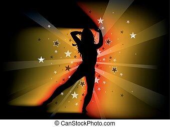 vrouw, jonge, dancing, silhouetted
