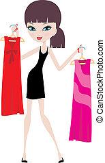 vrouw, jonge, hangers