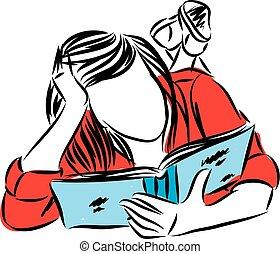 vrouw, jonge, illustratie, vector, het boek van de lezing