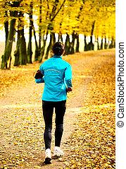vrouw, jonge, jogging, park., gezondheid, fitness