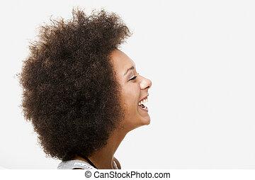 vrouw, jonge, lachen