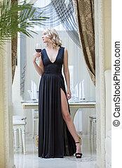 vrouw, jonge, lang, black , het poseren, jurkje, sensueel