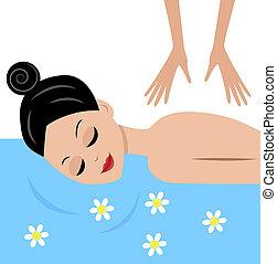 vrouw, jonge, masseren