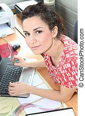vrouw, jonge, receptionist