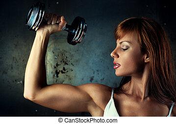 vrouw, jonge, sporten