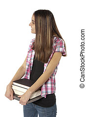 vrouw, jonge, student, books., universiteit