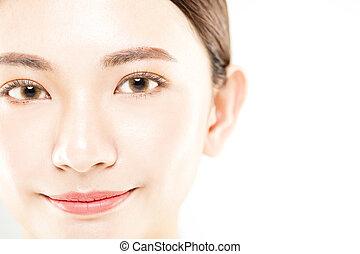 vrouw, jonge, vrijstaand, gezicht, closeup, witte