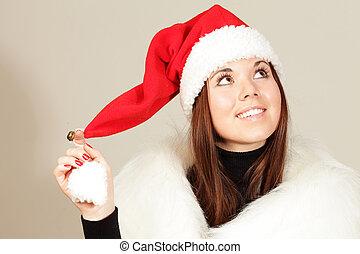 vrouw, jonge, vrijstaand, kerstman, dromen, hoedje