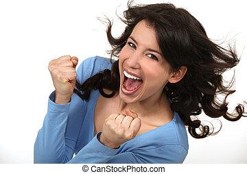 vrouw, jubilant