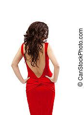 vrouw, jurkje, vrijstaand, rood, jonge