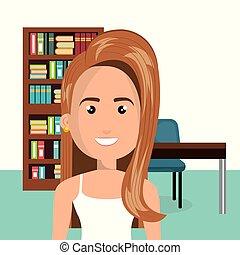 vrouw, karakter, jonge, bibliotheek, scène