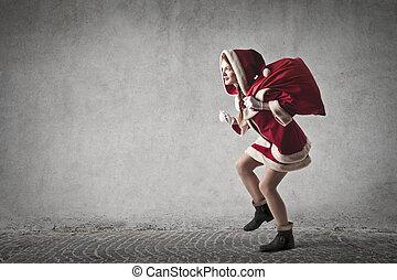 vrouw, kerstman, met, zak