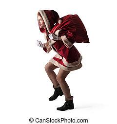 vrouw, kerstman
