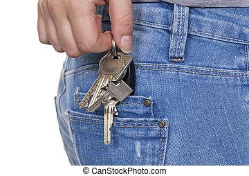 vrouw, keychain, hand