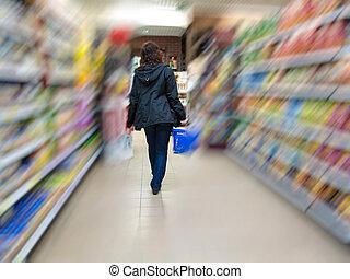 vrouw, klant, shoppen , op, de, supermarkt