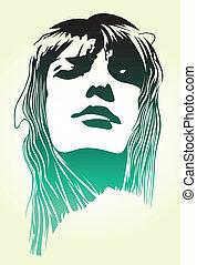 vrouw, klapen kunst, verticaal
