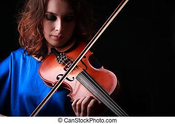 vrouw, klassiek instrument, musician., spelend, violist, ...