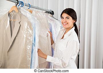vrouw, kleding, jonge, winkel